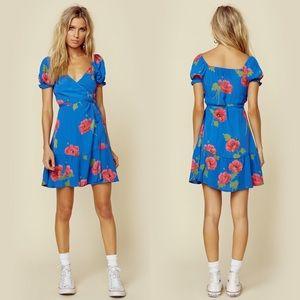 FLYNN SKYE Annabelle Blue Floral Wrap Dress